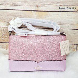 Kate Spade Rose Pink Lola Glitter Crossbody New